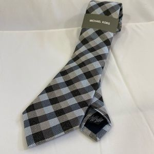 Michael Kors Checkered Blue Tan Squares Neck Tie